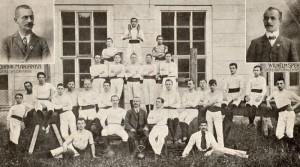 1. Arbeiter-Turnverein Linz (im Hof der Raimundschule) Links oben: der erste Obmann Johann Marianka Rechts oben Turnlehrer Sperr